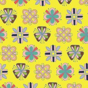 Befriended Folk Flowers Yellow