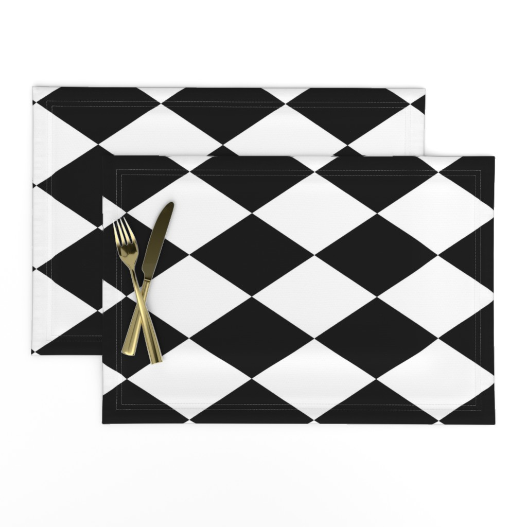 Lamona Cloth Placemats featuring Extra Large Harlequin Check in Black and White by charmcitycurios