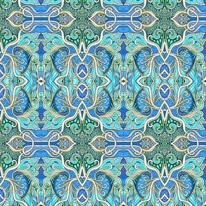 Art Nouveau Paisley Blues