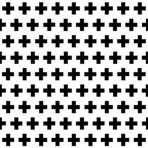 black plus on white