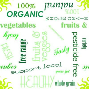 Healthy Eating Text in Green