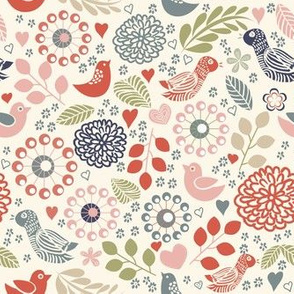 Abstract Birds and Flowers