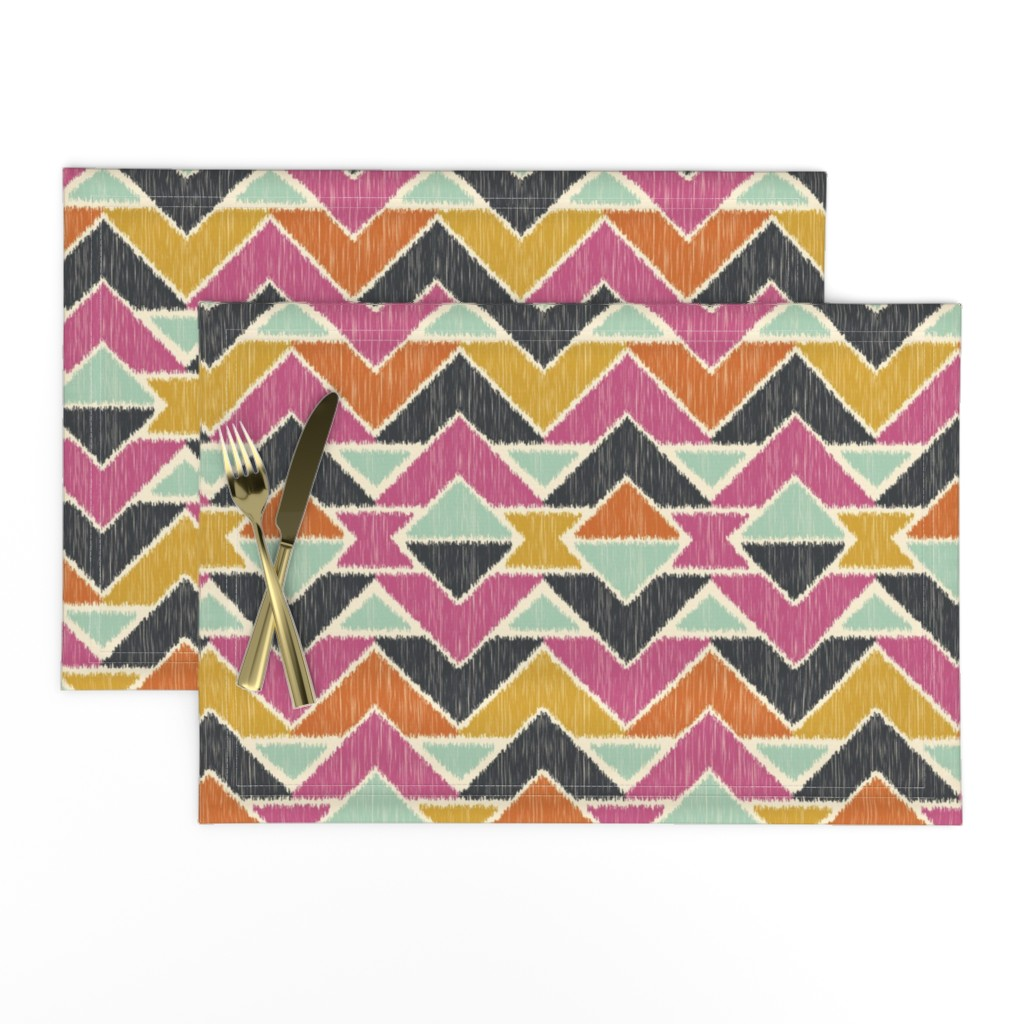 Lamona Cloth Placemats featuring Sequoyah Arrows Ikat by bohemiangypsyjane