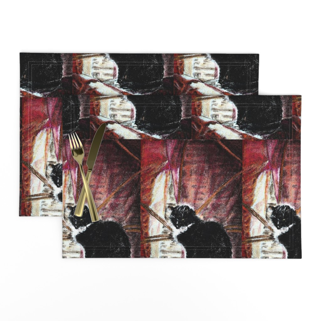 Lamona Cloth Placemats featuring CAT'S QUIETNESS by paysmage