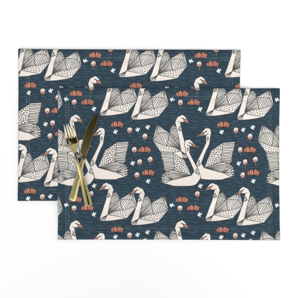 Lamona Cloth Placemats featuring swans // lily pond swans geo dark blue navy blue swan bird girls sweet  by andrea_lauren