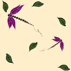Rustic Dragonflies and Leaves