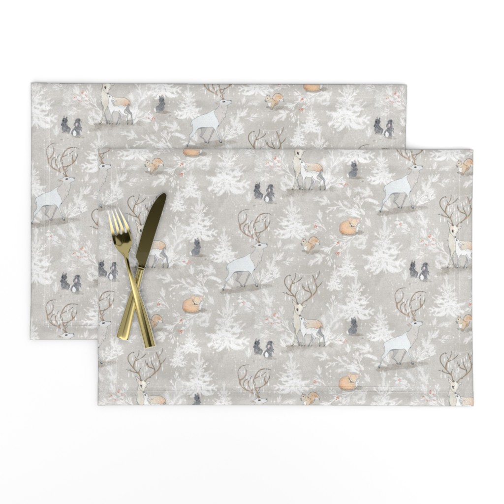Lamona Cloth Placemats featuring Vintage Woodland Christmas (SMALL) by nouveau_bohemian