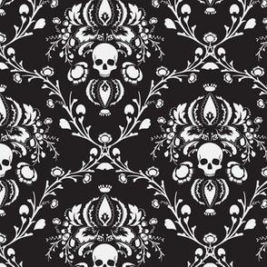 Black and White Skull Damask
