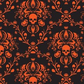 Black and Orange Skull Damask