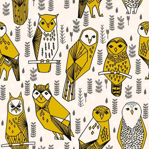 owl // hand-drawn seamless illustration featuring owls birds woodland design by Andrea Lauren on fabric for print crafters baby nursery leggings