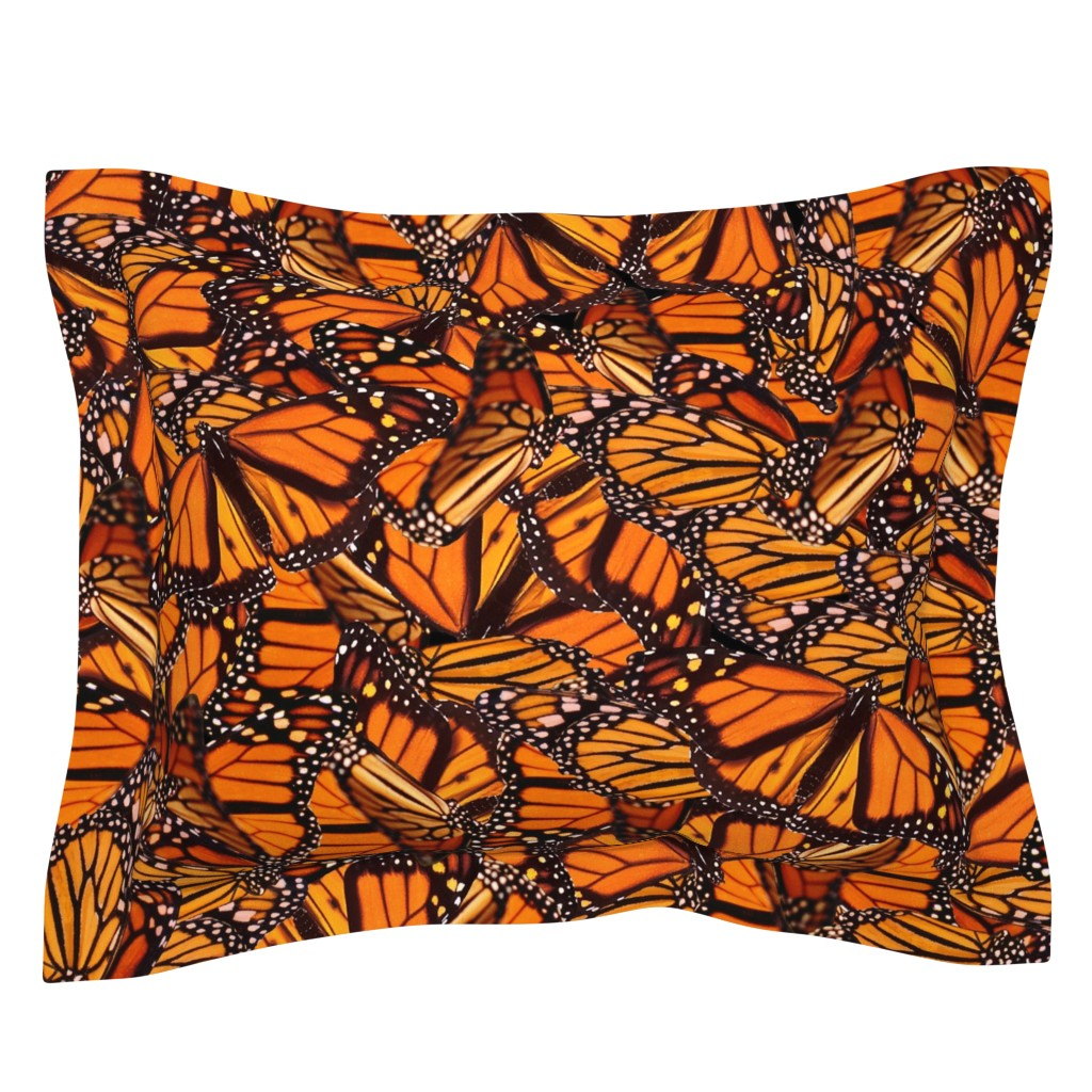 Sebright Pillow Sham featuring Monarch Butterfly by jenfur