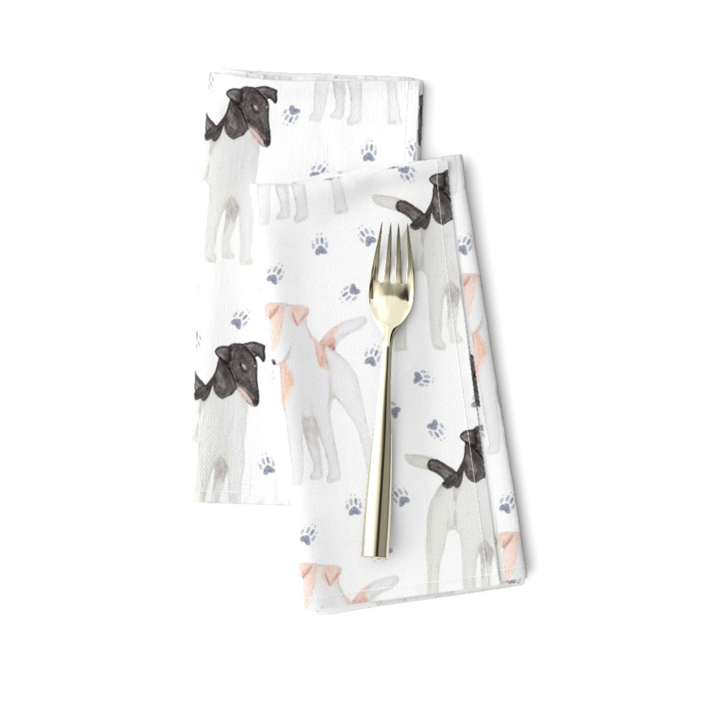 Amarela Dinner Napkins featuring Posing Smooth Fox Terriers watercolor by rusticcorgi