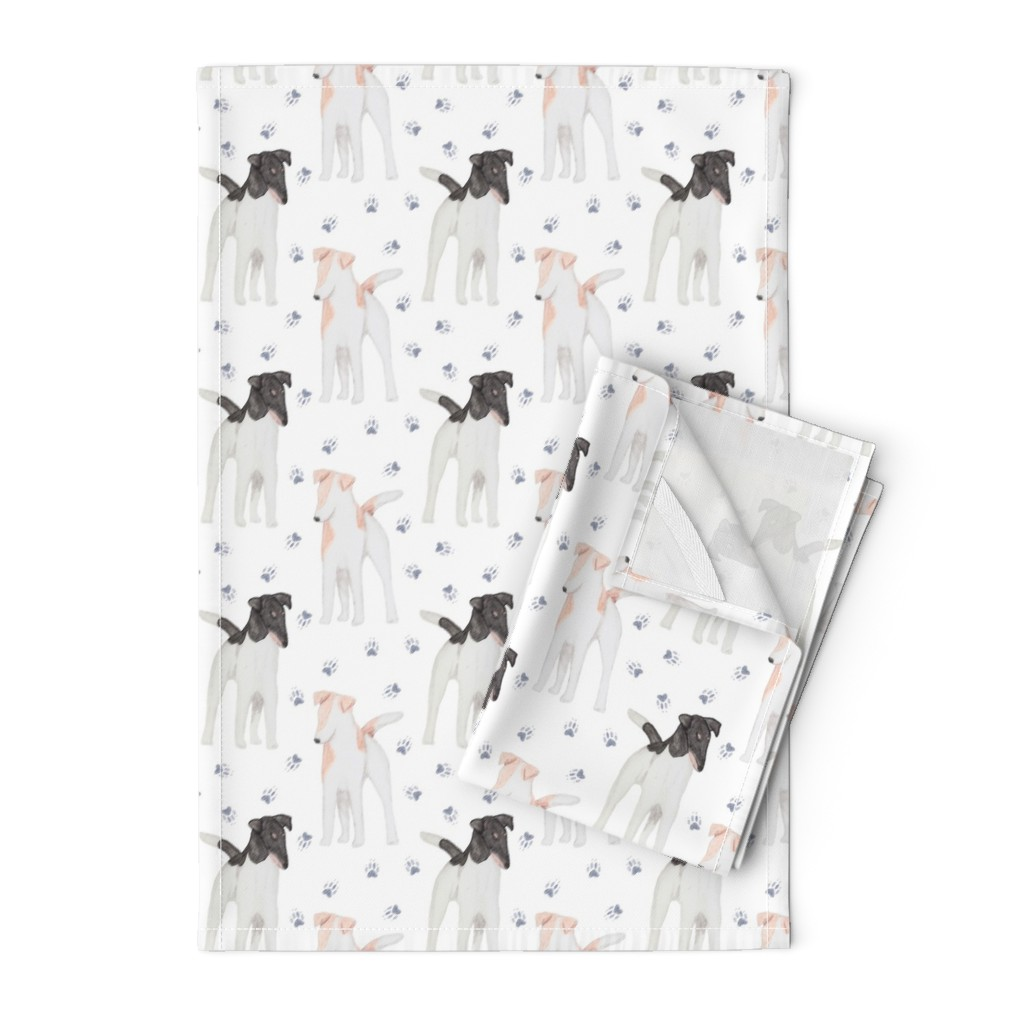 Orpington Tea Towels featuring Posing Smooth Fox Terriers watercolor by rusticcorgi