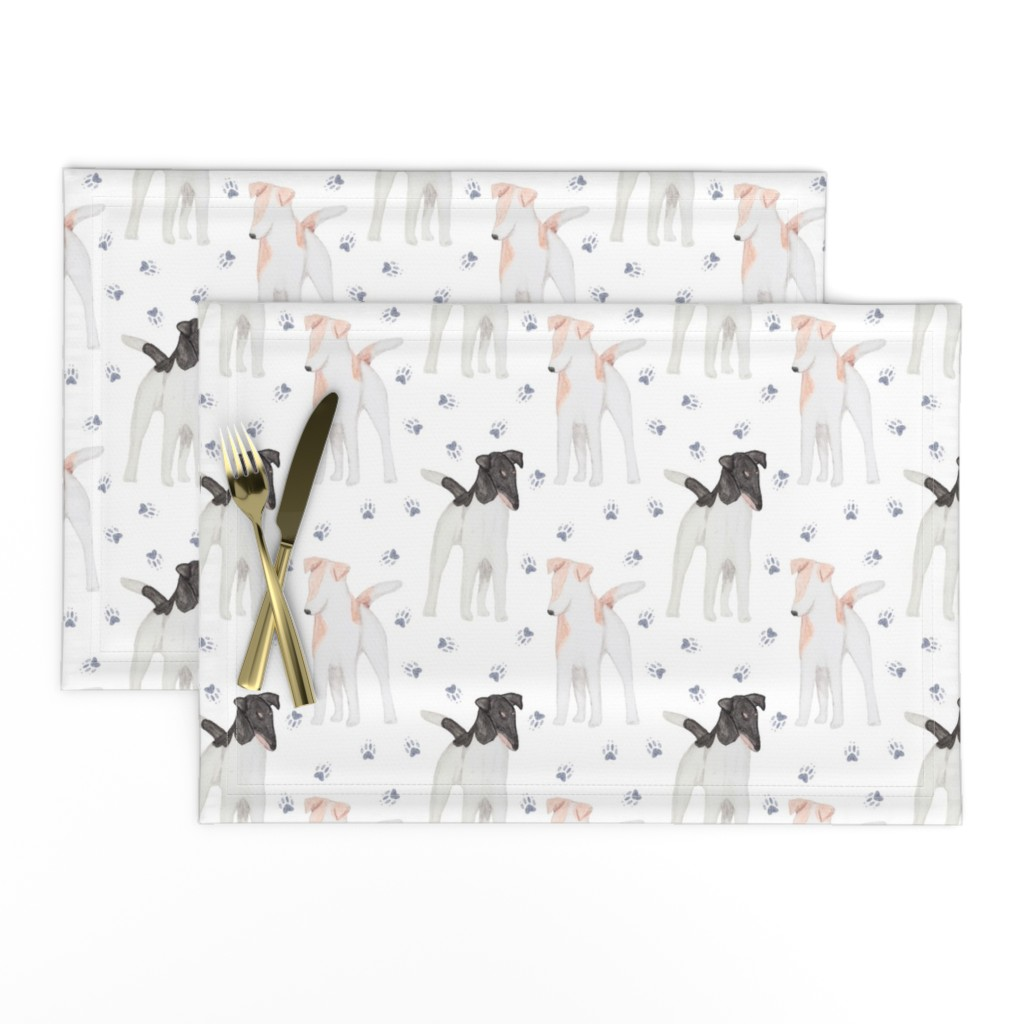Lamona Cloth Placemats featuring Posing Smooth Fox Terriers watercolor by rusticcorgi