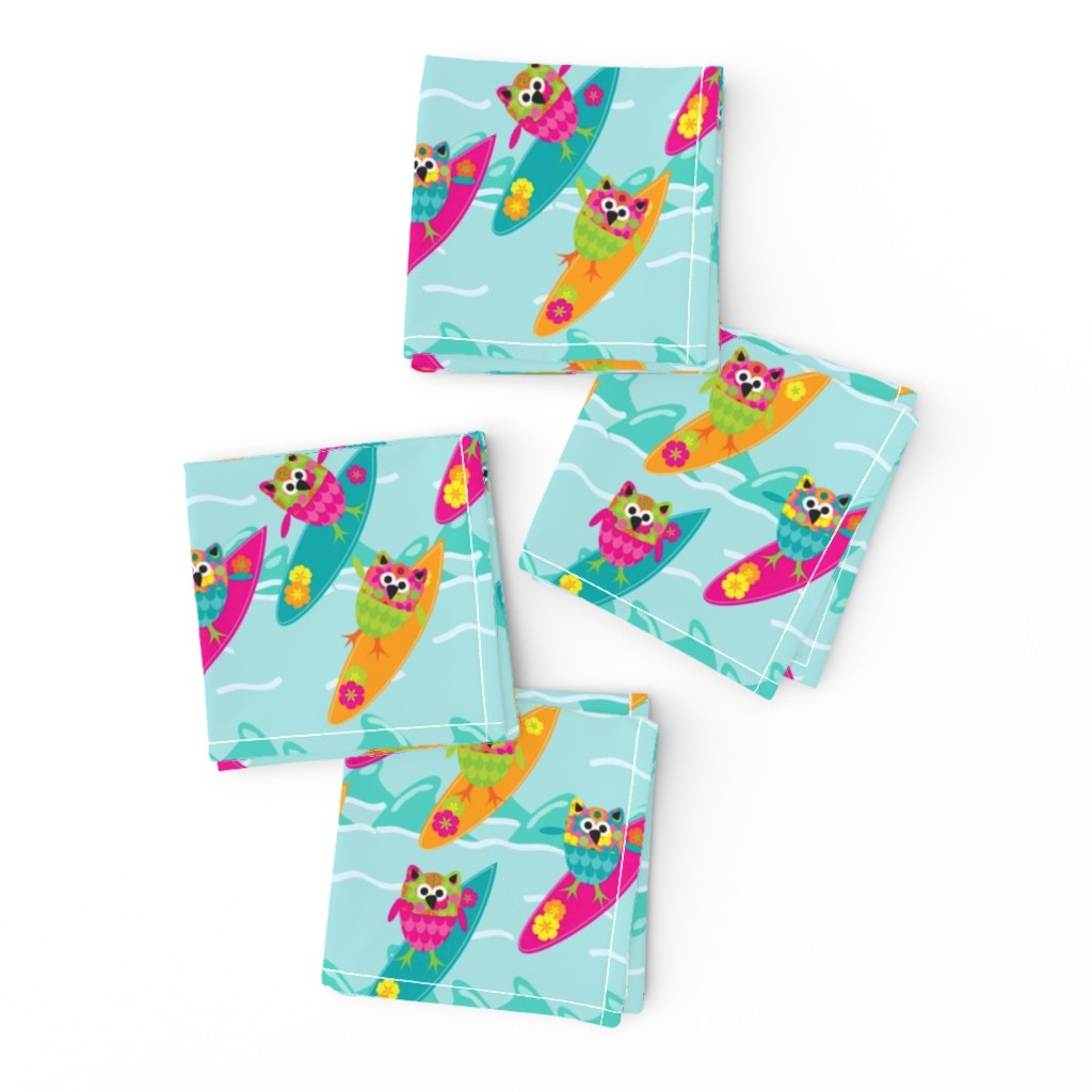 Frizzle Cocktail Napkins featuring Tiki_Owls_Go_Surfing by deesignor