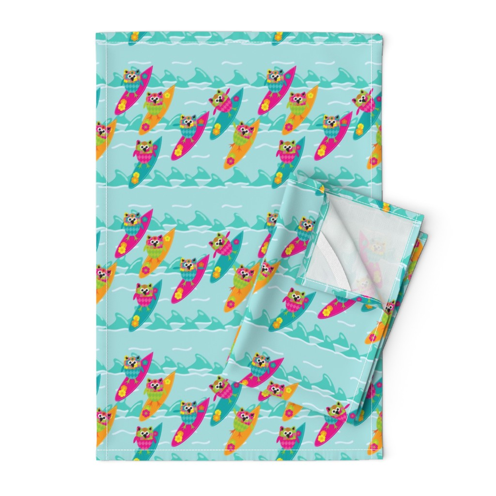 Orpington Tea Towels featuring Tiki_Owls_Go_Surfing by deesignor