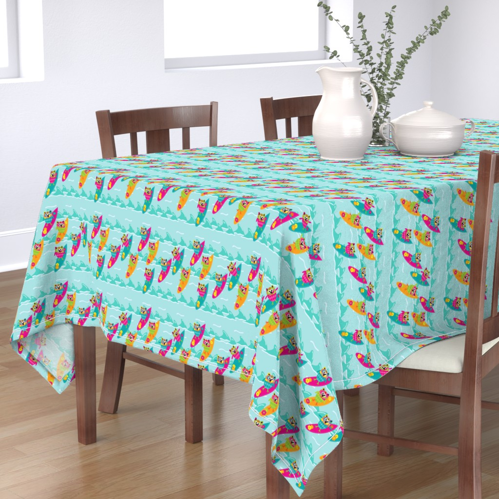 Bantam Rectangular Tablecloth featuring Tiki_Owls_Go_Surfing by deesignor
