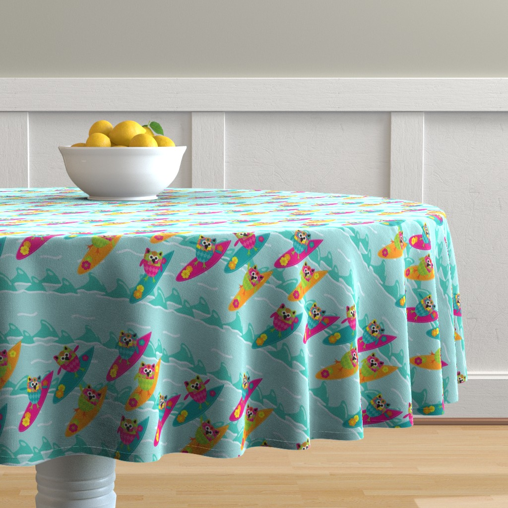 Malay Round Tablecloth featuring Tiki_Owls_Go_Surfing by deesignor