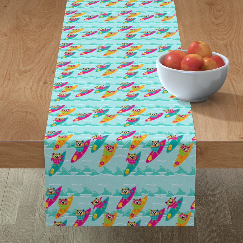 Minorca Table Runner featuring Tiki_Owls_Go_Surfing by deesignor
