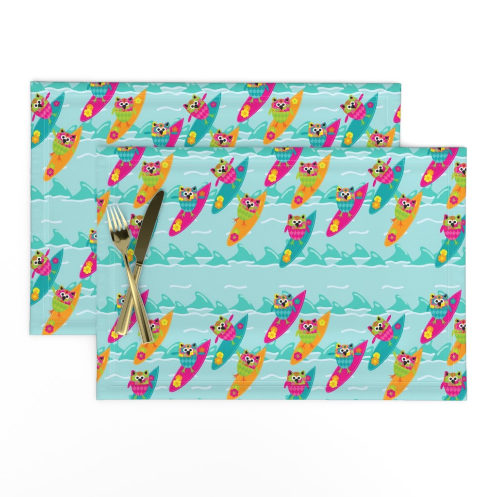 Lamona Cloth Placemats featuring Tiki_Owls_Go_Surfing by deesignor