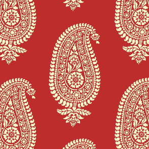 Holiday Red Paisley Block Print Wrapping Paper