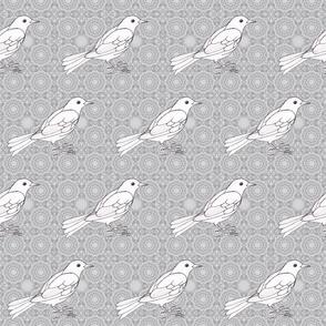 White Black Bird on delicate pattern