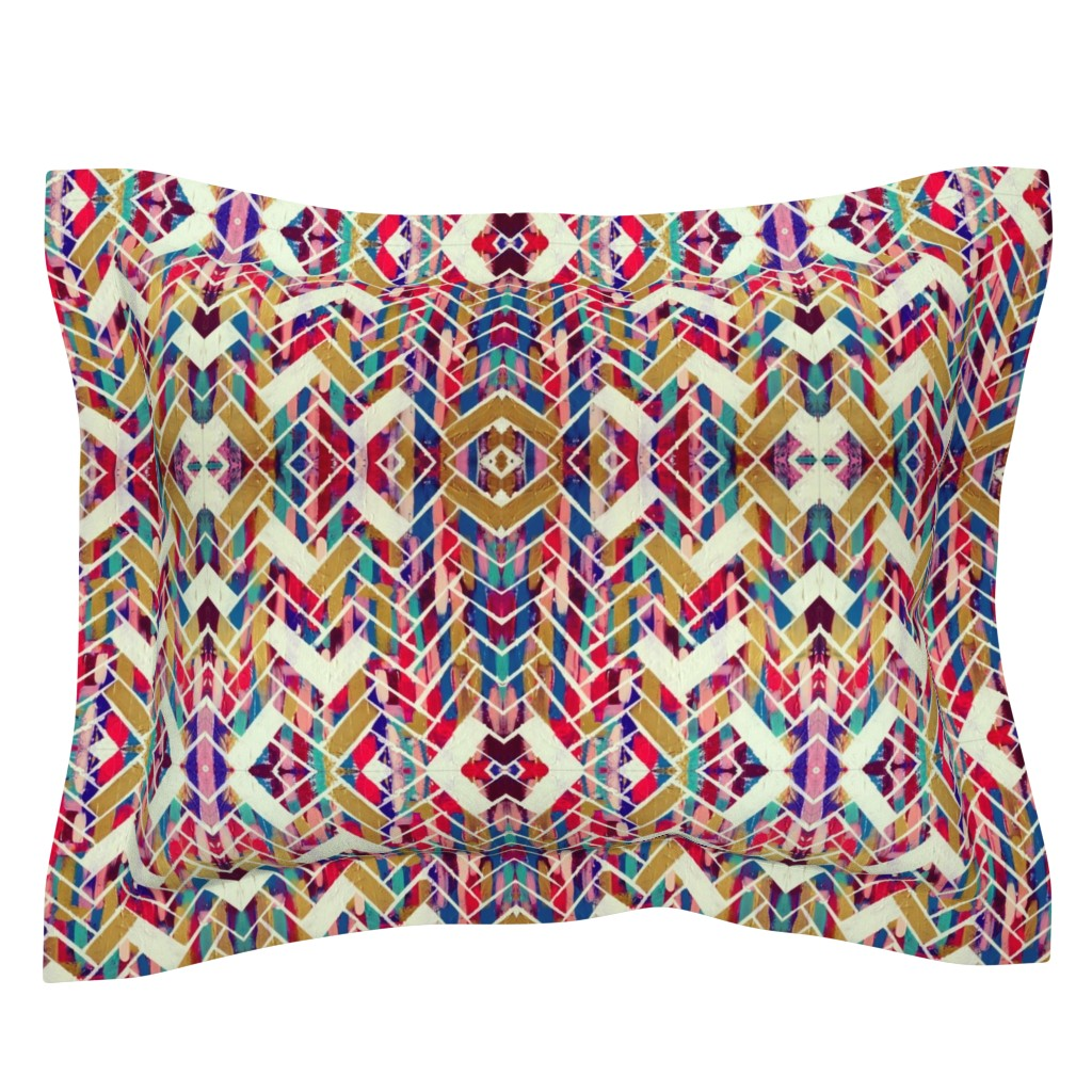 Sebright Pillow Sham featuring The Painted Herringbone by theartwerks