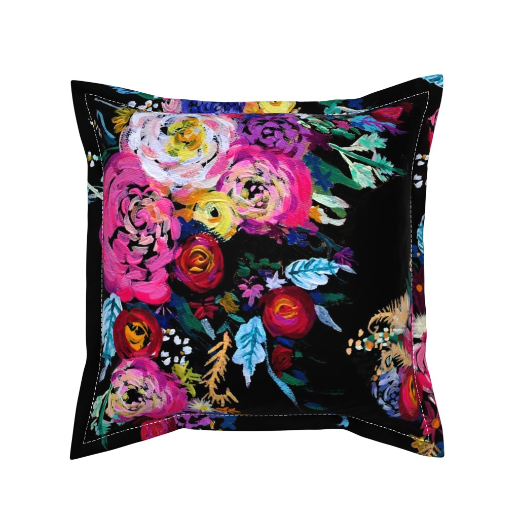 Serama Throw Pillow featuring Bright Floral Painting on Black Background by theartwerks