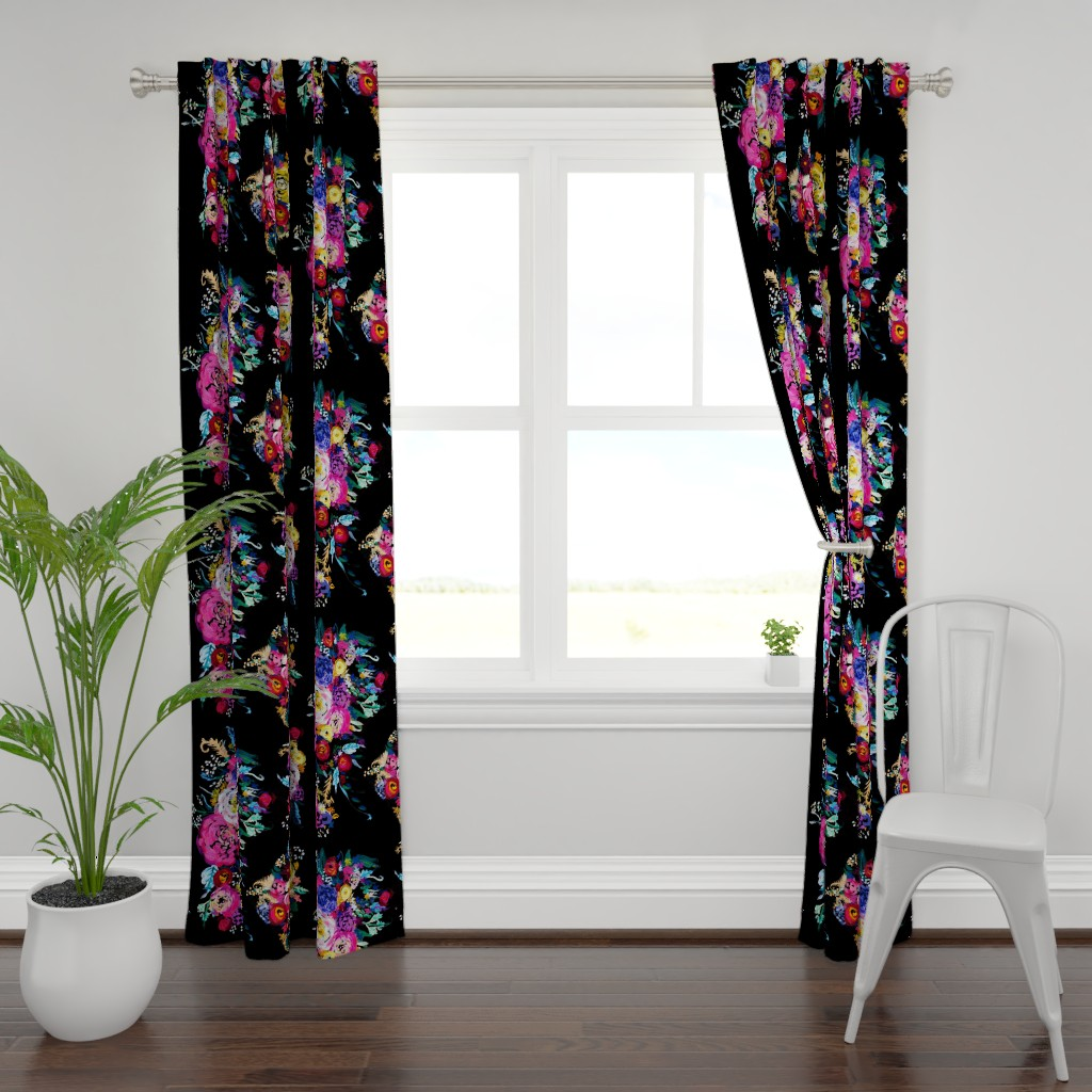 Plymouth Curtain Panel featuring Bright Floral Painting on Black Background by theartwerks