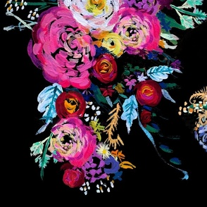 Bright Floral Painting on Black Background
