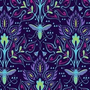 Bee Damask - Smaller Purple