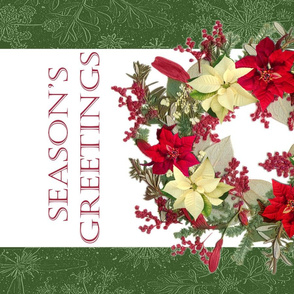 Tea Towels Poinsettia Wreath
