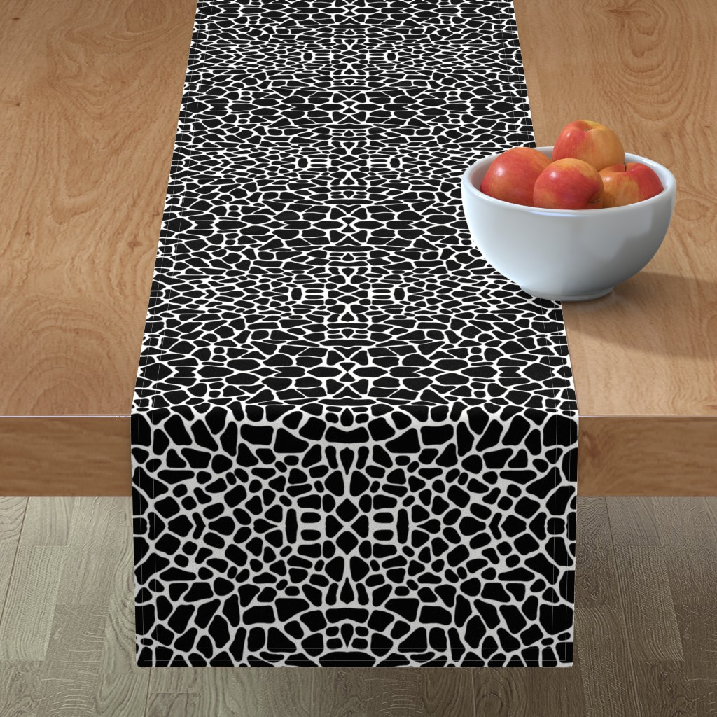 Minorca Table Runner featuring Pebbles black and white by whimzwhirled