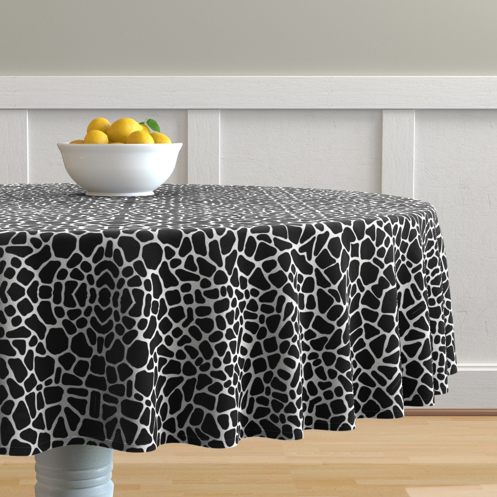 Malay Round Tablecloth featuring Pebbles black and white by whimzwhirled