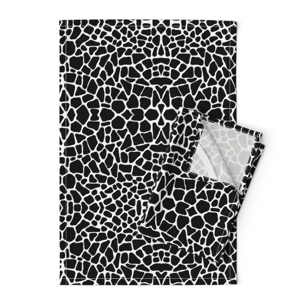 Orpington Tea Towels featuring Pebbles black and white by whimzwhirled