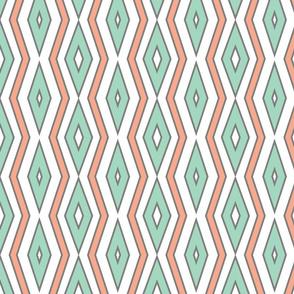 Mint & coral lines