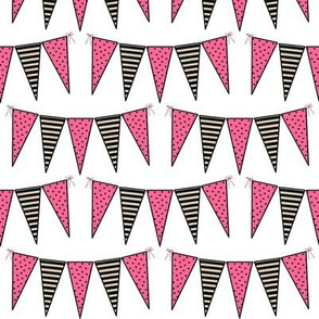 Black Pink White Cream Mini Pennant Buntings