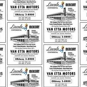Nifty Fifties Van Etta car dealership Ad Edsel Mercury