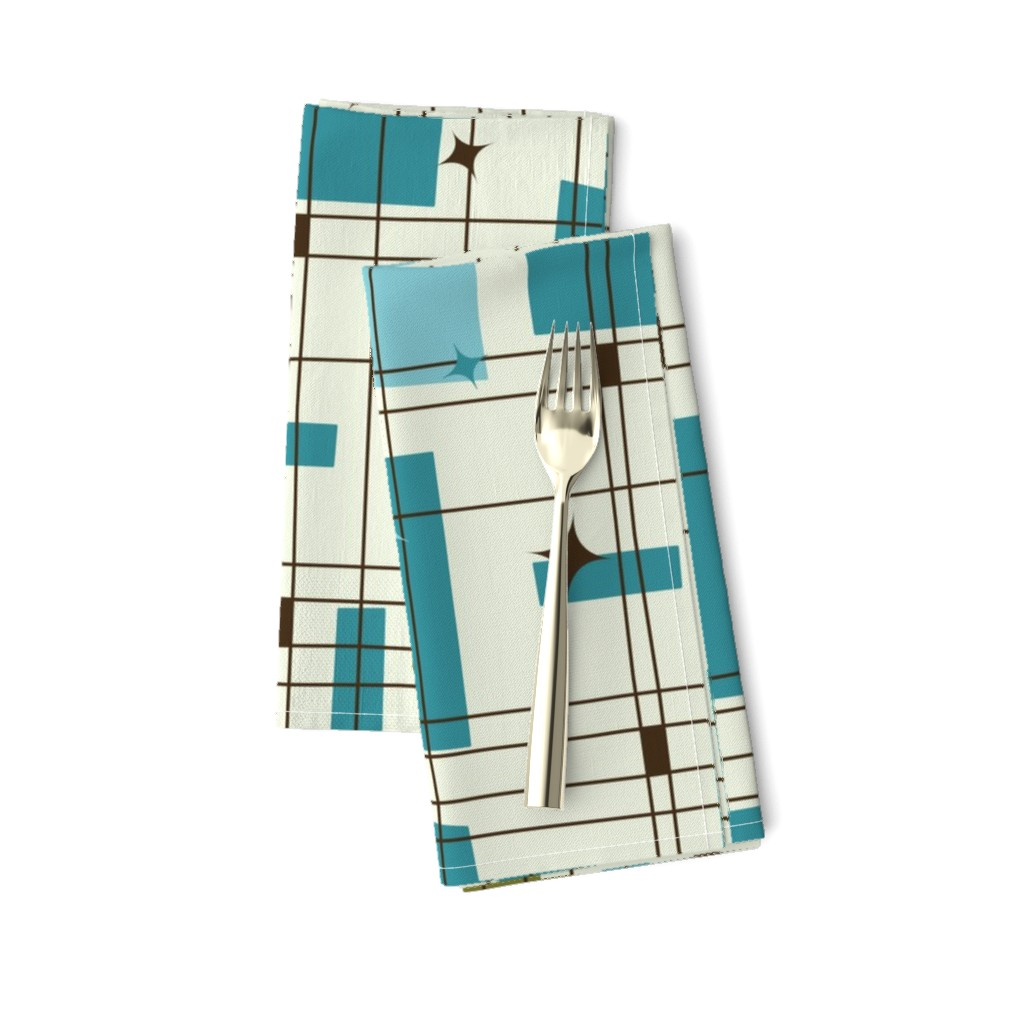 Amarela Dinner Napkins featuring Take 5 - 18in (teal) by studiofibonacci
