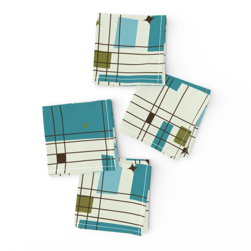 Frizzle Cocktail Napkins featuring Take 5 - 18in (teal) by studiofibonacci