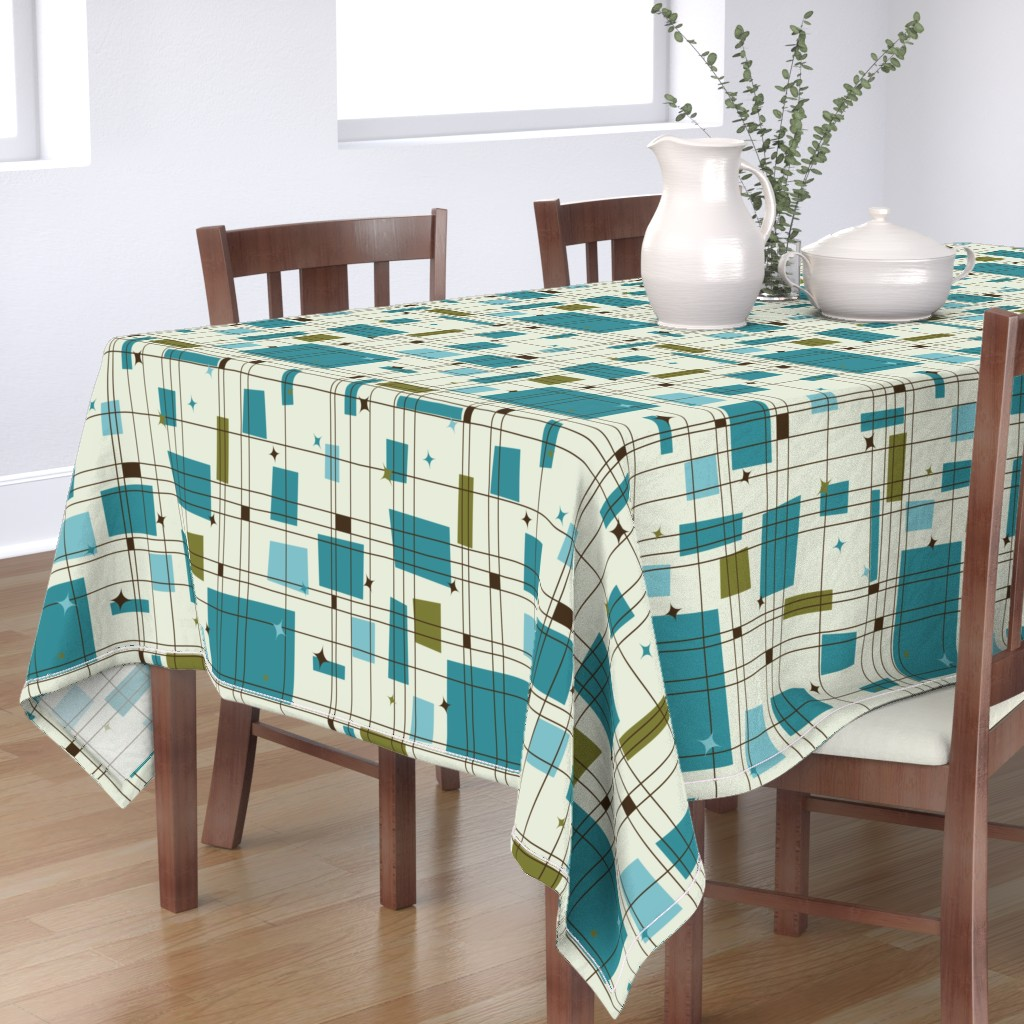 Bantam Rectangular Tablecloth featuring Take 5 - 18in (teal) by studiofibonacci