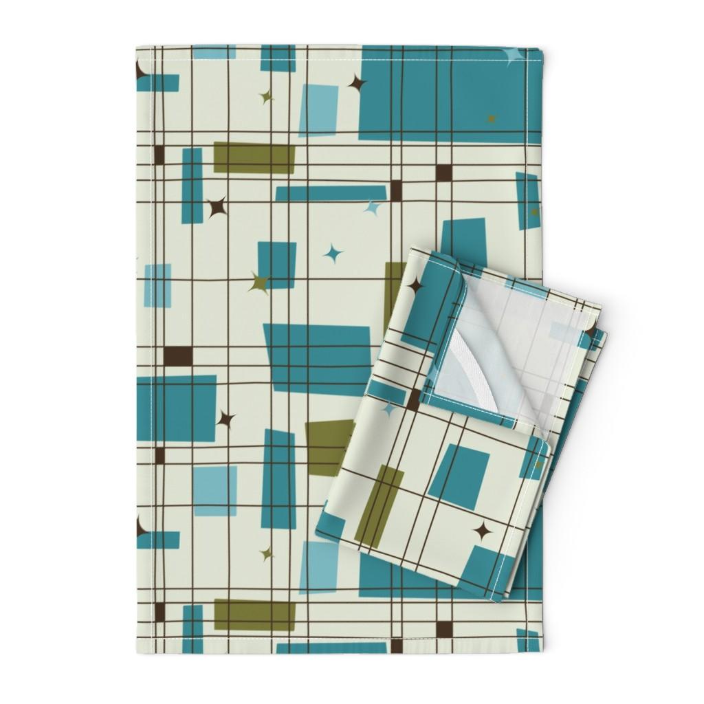 Orpington Tea Towels featuring Take 5 - 18in (teal) by studiofibonacci