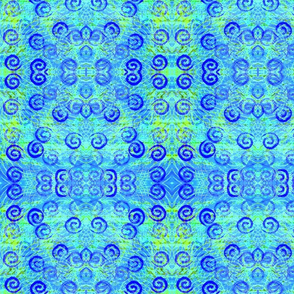 Blue Spirals rad plaid