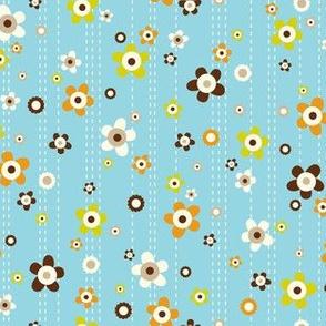 Flower Shower - Floral Aqua Blue