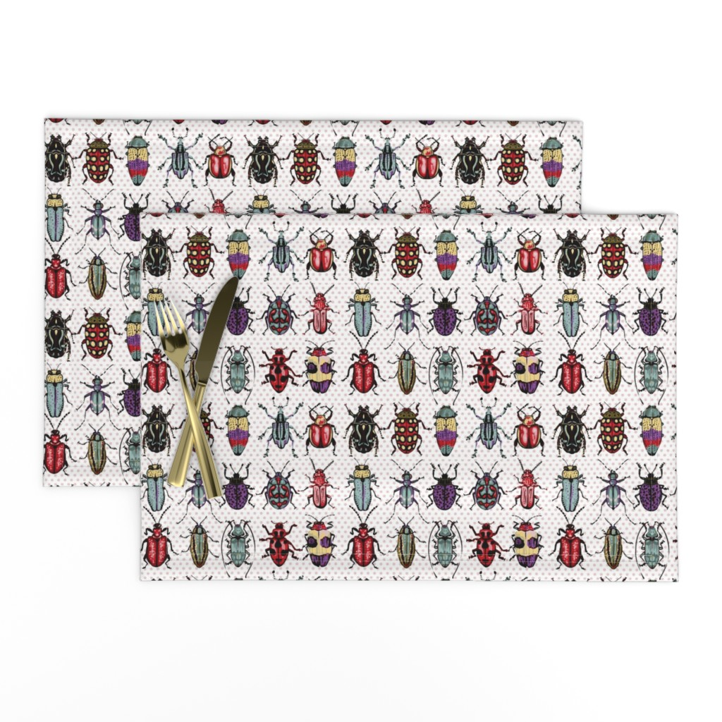 Lamona Cloth Placemats featuring Beetles - natural colors by chantal_pare