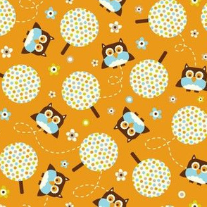 In The Neighborhood - Owls & Trees Orange