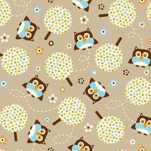 In The Neighborhood - Owls & Trees Tan Brown