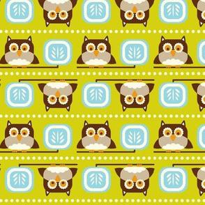 Owl Town - Whimsical Birds Green