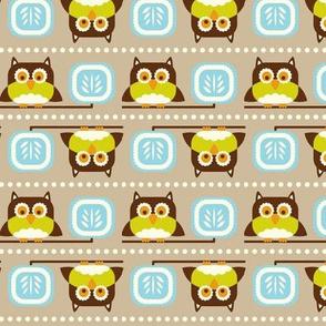Owl Town - Whimsical Birds Tan Brown