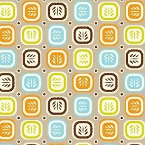 Leaf Line - Retro Leaf Geometric Tan Brown
